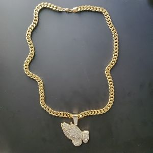 High quality Gold chain with rhinestones